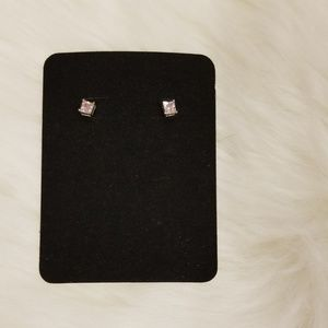 Small Square Light Pink Stud Earrings